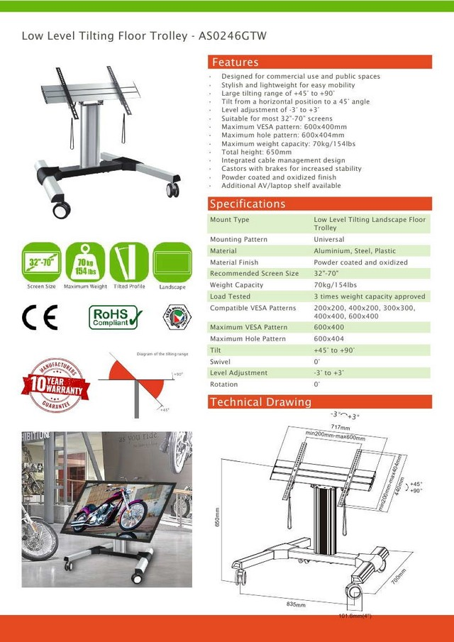 Low Level Tilting Floor Trolley Vesa Stand